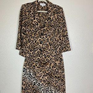 ST.JOHN Gold Leopard Santana Knit Skirt Suit Set